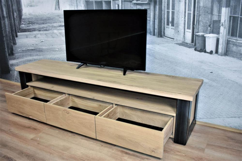 TV meubel eiken industrieel met lades