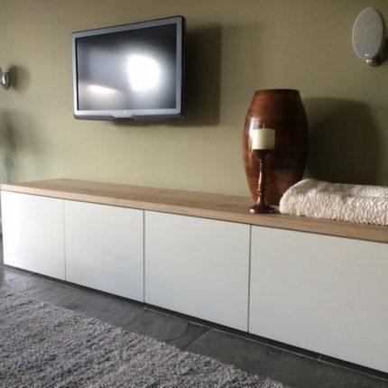 Eiken en MDF Combi TV Meubel Zijdeglans wit