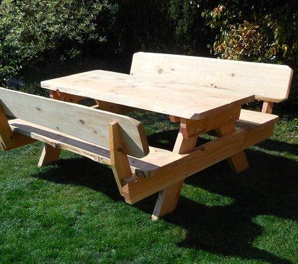 Boomstam picknicktafel met rugleuning | Oregon