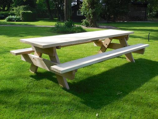 Robuuste eiken picknicktafel