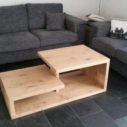 Moderne rechthoekige salontafel van massief eiken