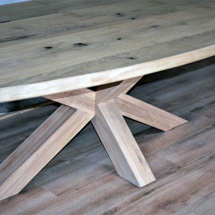 Massief eiken spin (X) tafelpoot