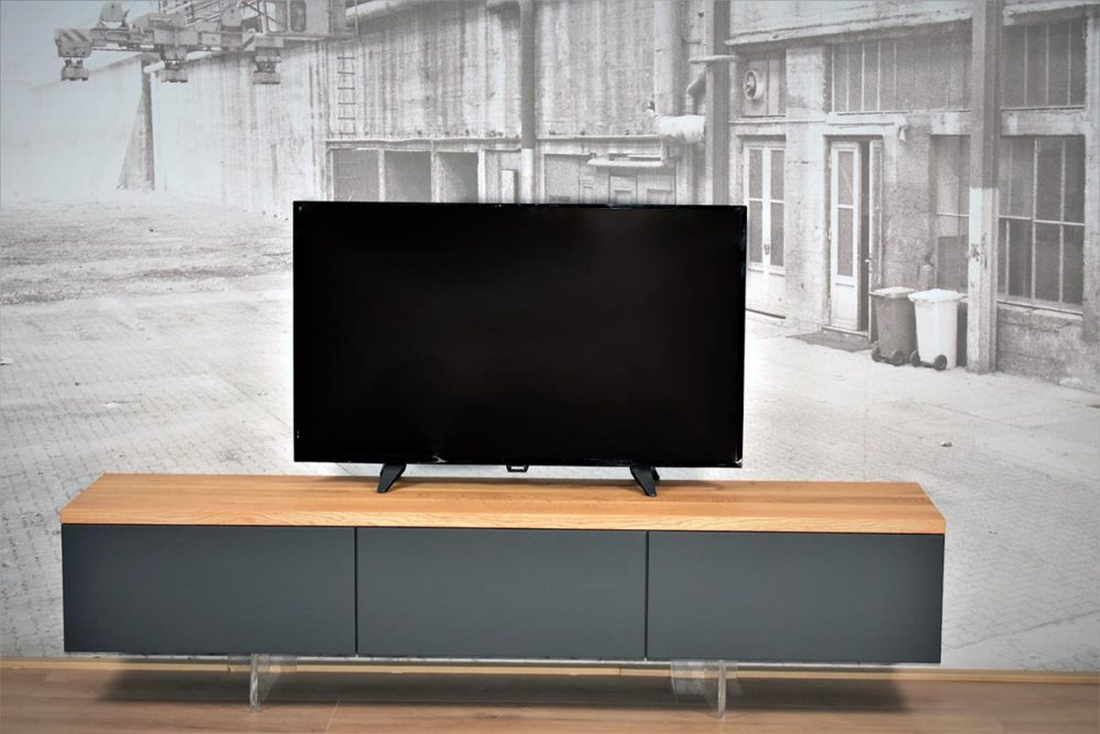 Antraciet Zwevend TV Meubel 220 cm eiken bovenblad