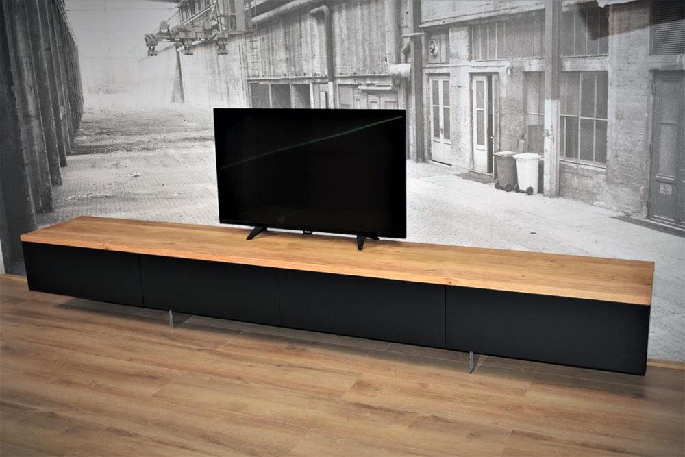 Zwart hangend MDF TV Meubel 300 cm eiken bovenblad