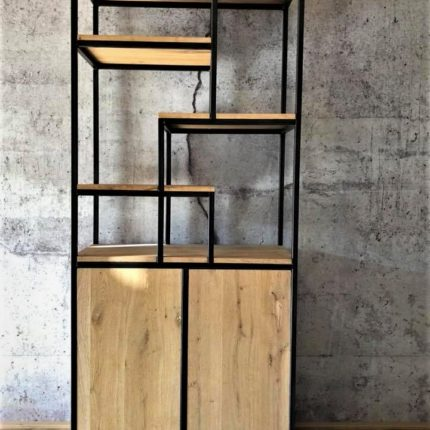 Industrieel design halfopen wandkast (eiken / blauwstaal) | Solid Plus