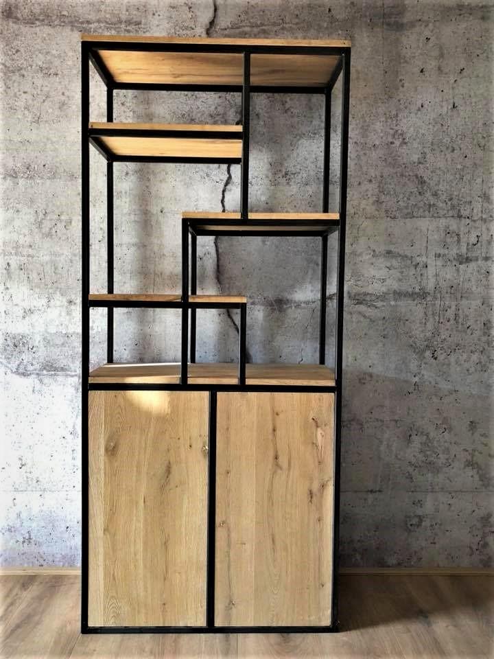 Industrieel Design Halfopen Wandkast Eiken Blauwstaal Solid Plus