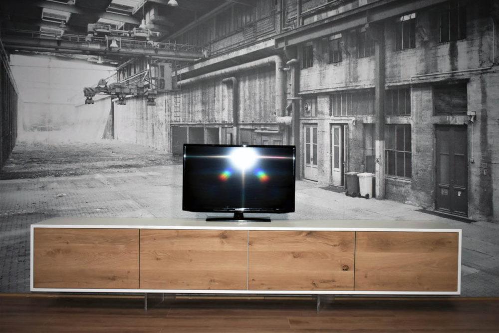 Wit eiken en eiken zwevend TV Meubel 260cm - Le Faou