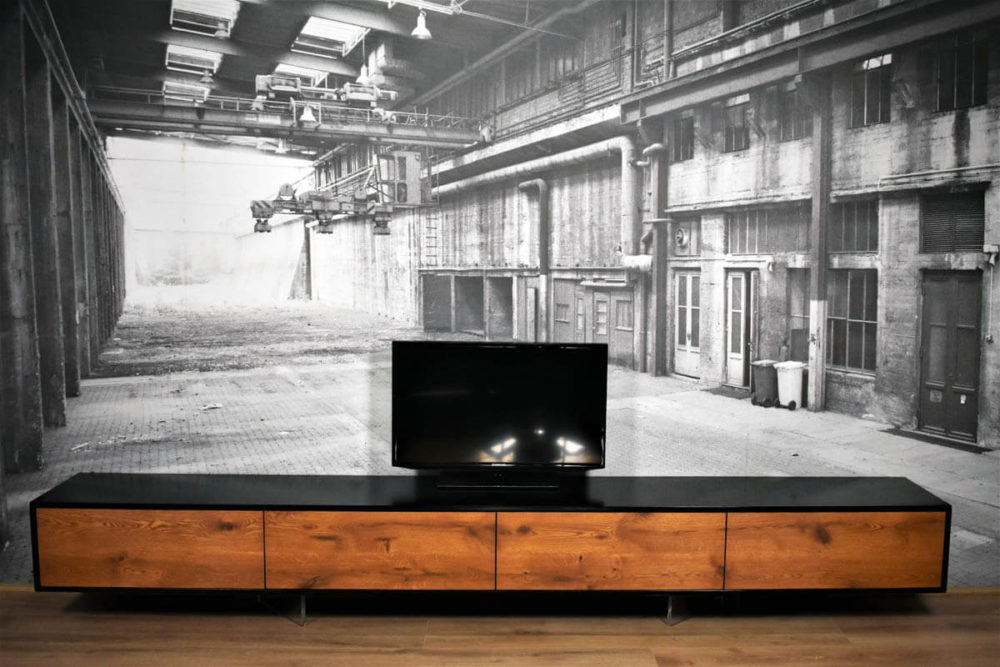 Zwart Eiken en Ice Brown eiken zwevend TV Meubel 300cm - Le Faou