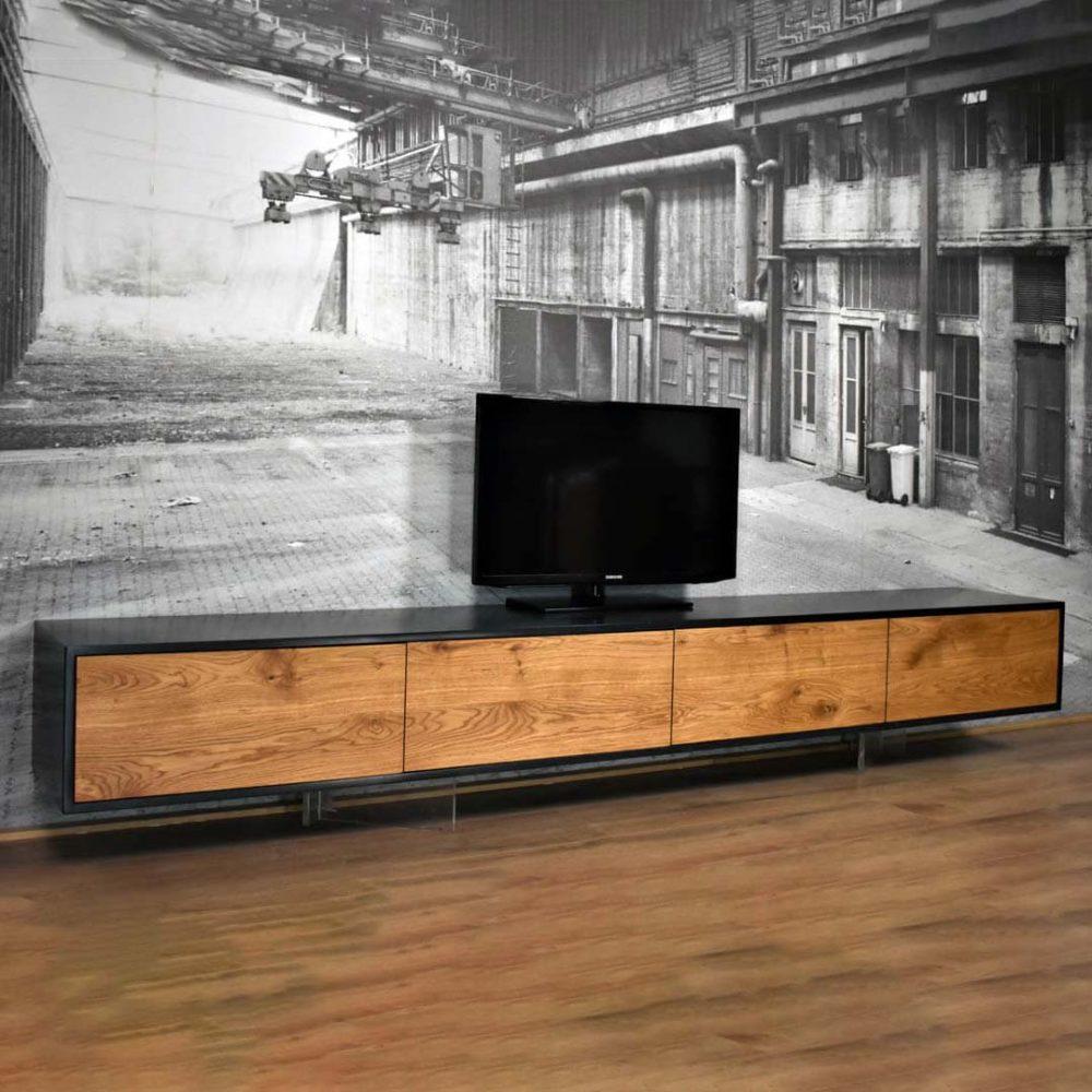Zwart eiken en Pure olie eiken zwevend TV Meubel 280cm - Le Faou