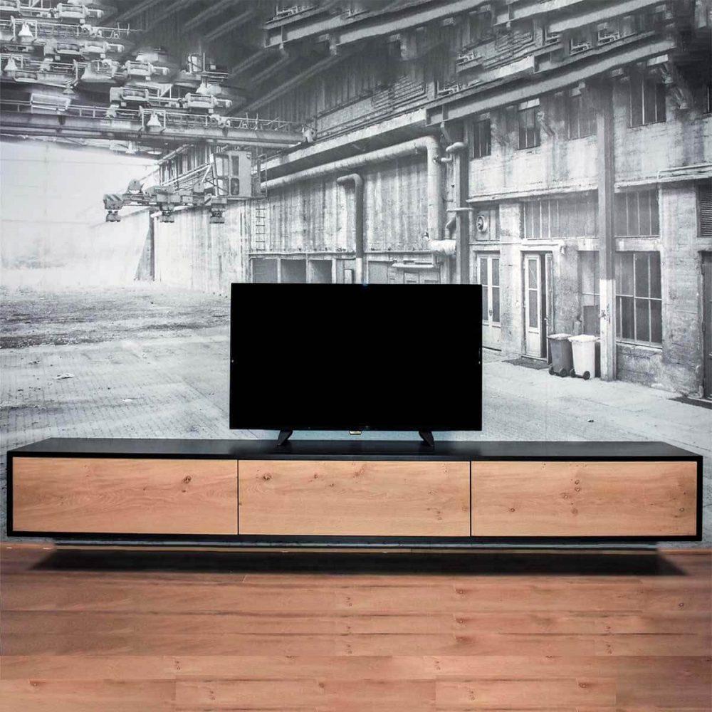 Zwevend TV Meubel tweekleurig met eiken front zwart