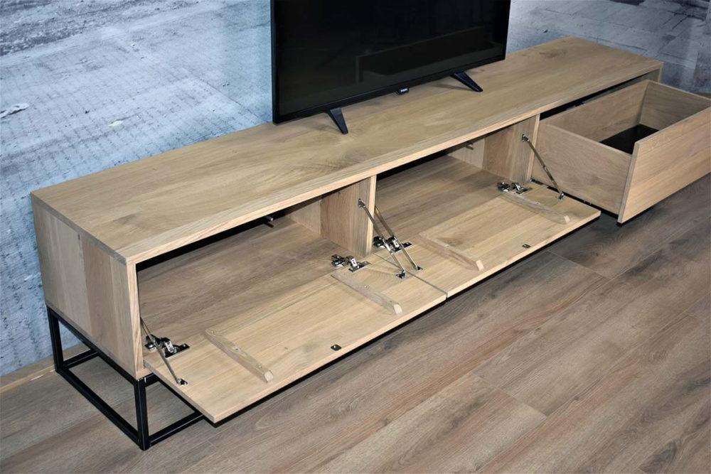 Eiken TV meubels met vallende drukklep en push to open lade