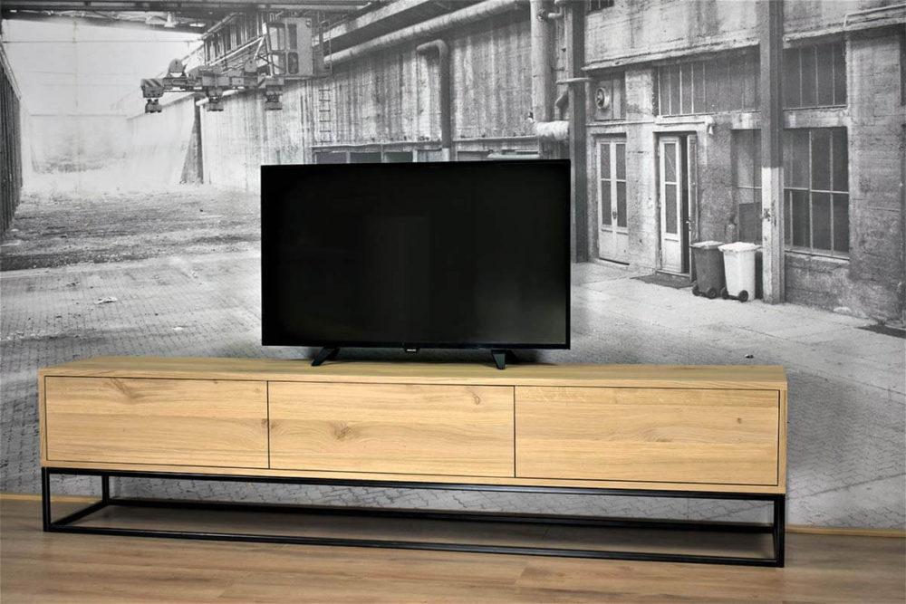 Massief Eiken tv meubel (220cm x 40cm x 30cm) met kokerprofiel onderstel