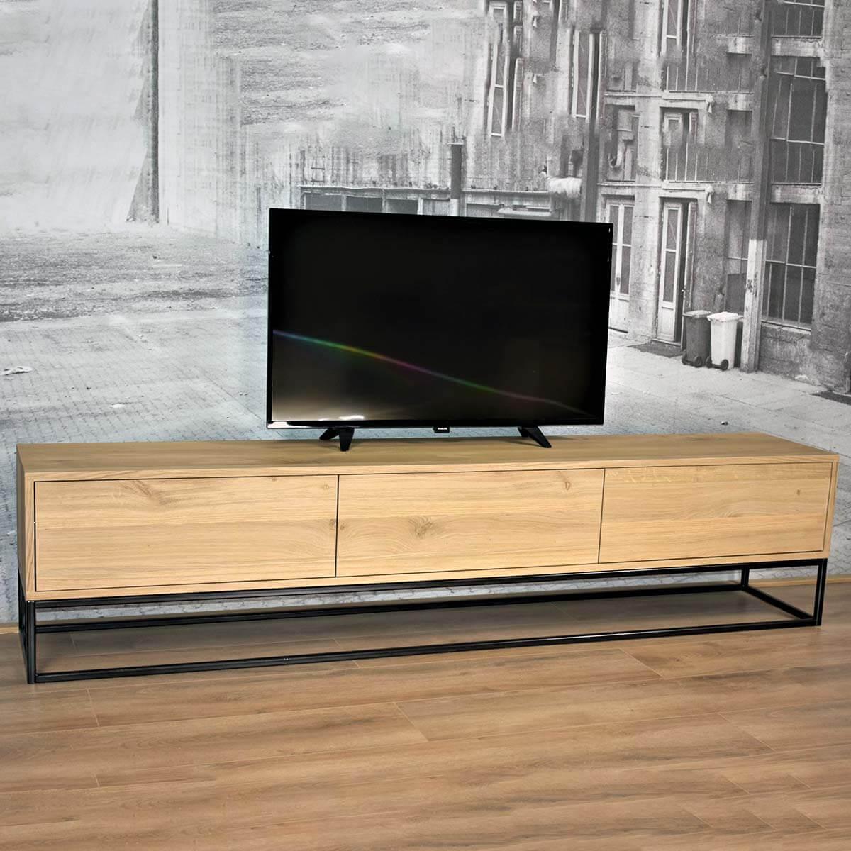 Eiken Tv Meubel Met Kokerprofiel Onderstel Eline