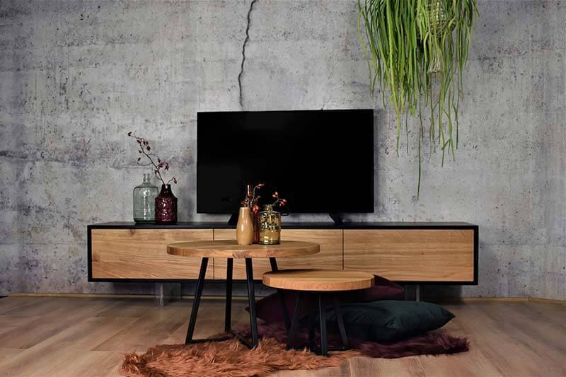 Tv Kast Muur.Hangende Zwevende Tv Meubel Van Hout Gewoonsfeervol Nl