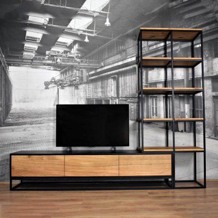 TV Wandmeubel (wandmeubel set) met hoge kast van eiken