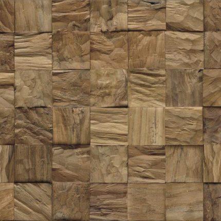 Wandpanelen (cubes) van teakhout