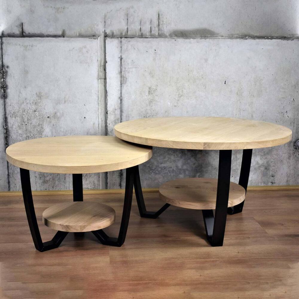 Ronde salontafel met dubbel blad gemaakt van hout en staal