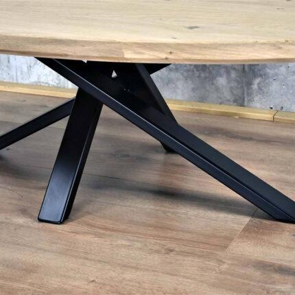 Stalen Twist onderstel onder salontafel met ovaal tafelblad