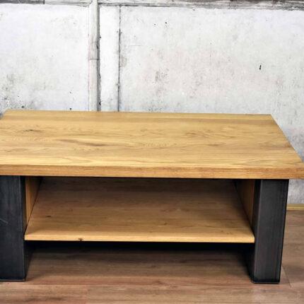 Industrieel design Salontafel van hout en staal