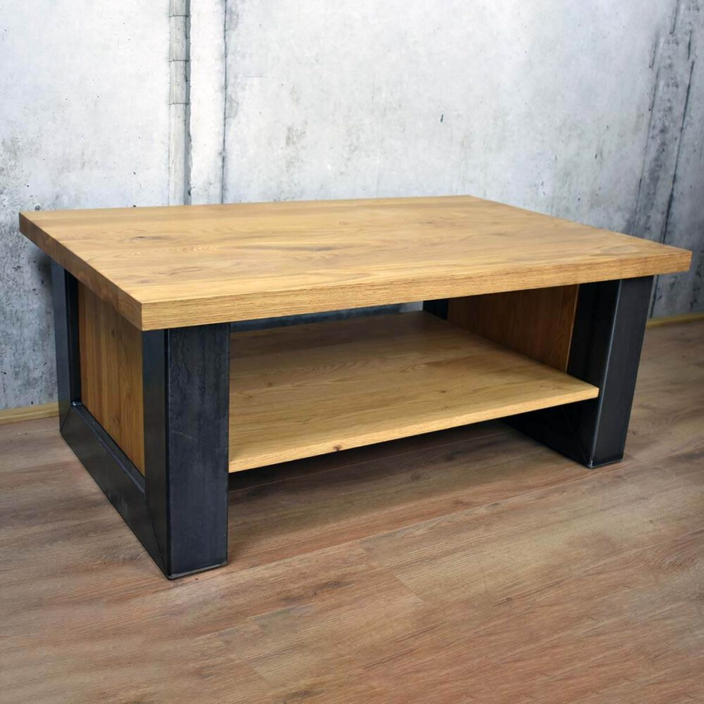 Eiken salontafel in Industrieel design productfoto